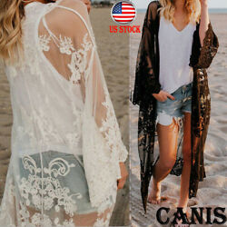 Womens Embroidered Sheer Lace Kimono Short Sleeve Duster Cardigan Black Taupe US