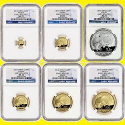 2016 CHINA ~ 3 OZ GOLD&SILVER PANDA 6 COINS SET ALL ARE NGC MS 70 EARLY RELEASES