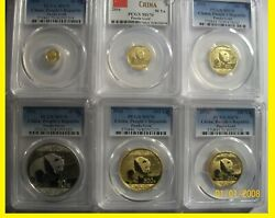 2016 CHINA ~ 3 OZ GOLD&SILVER PANDA 6 COINS SET ALL ARE PCGS MS 70