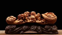 11''collection India sandalwood carved home fengshui RUYI foo dogs lion statue