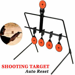 Steel Shooting Targets Spinning Auto Reset Metal Stand Outdoor w 5 Target Set