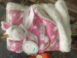 petite l'amour baby unicorn rainbow blanket and lovey nwt