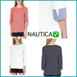 Nautica Women Ladies#x27; Cuff Sleeve Top VARIETY: SIZES amp; COLORS $13.99