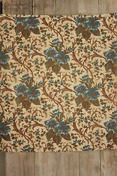 Antique Fabric French Printed Blue Floral Rococo Scroll block printed cotton old $95.00