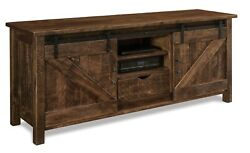Amish Rustic Barn Track Door TV Stand Cabinet Solid Reclaimed Wood 72