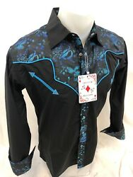 Mens RODEO WESTERN COUNTRY BLACK Long Sleeve Woven SNAP UP Shirt Cowboy 06685