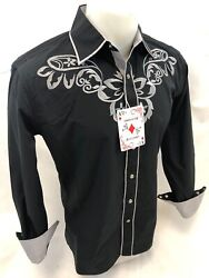 Mens RODEO WESTERN COUNTRY BLACK Long Sleeve Woven SNAP UP Shirt Cowboy 06610