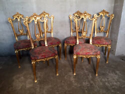 Antique Exceptional Lot of Six Louis XVI Chairs in Golden Leaf Walnut