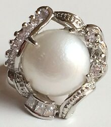 Silver White Pearl Deco Cocktail Ring Plated Chunky Crystal Shell Vintage Size 8