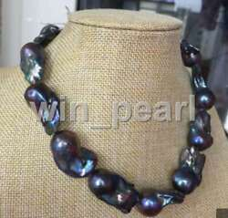 stunning 22-30mm huge baroque black peacock pearl necklace 18inch 925s