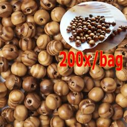 200pcs Natural BurlyWood Brown Beads Wooden Round Bead Craft Supplies Wood 8mm