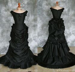 Black Gothic Wedding Dresses Taffeta Bridal Ball Gowns Ruffels Formal Gowns Plus