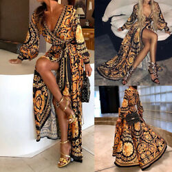 Women V Neck Print Evening Party Prom Formal Cocktail Wedding Long Maxi Dress C $24.84
