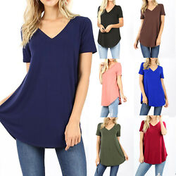 Womens Loose Fit Short Sleeve T Shirt V Neck Casual Basic Tunic Top Long Blouse