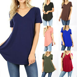 Womens Loose Fit Short Sleeve T Shirt V Neck Casual Basic Tunic Top Long Blouse $10.95