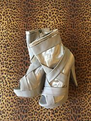 Gorgeous BURBERRY PRORSUM Runway Platform Shoes Beige Ankle Boot Sz 8.5 NWOB