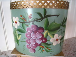 Vntg Painted FRENCH Desk Letter Caddy Vanity Waste Bin Flowers Gold Trim REDUCED $22.50