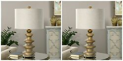 TWO DESIGNER MID CENTURY STYLE WEATHERED AGED GOLD FINISH TABLE LAMP DESK LIGHT  $401.19