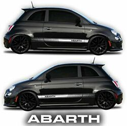 Side Decals car stickers Rocker Panel Racing Stripes (2 Sides Graphics white)