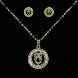 New Fashion Jewelry Women's Cz Owl Pendant Chain Earring Gold Plated Necklace