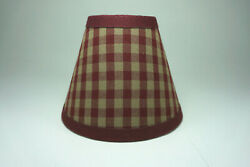 Country Burgundy Medium Check Fabric Chandelier Candle Lampshade Lamp Shade $14.99