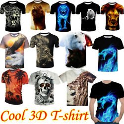 Fashion Men Funny Lion 3D Print T Shirt Casual Crew Neck Short Sleeves Tops Tee $12.91
