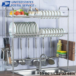 3 Tier Over The Sink Dish Drying Rack Shelf Stainless Kitchen W Cutlery Holde