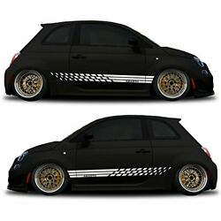 white Side graphics Racing Stripe car sticker decal kit for Fiat Abarth 500
