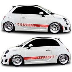 red Side graphics Racing Stripe car sticker decal kit for Fiat Abarth 500