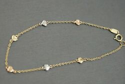 14K Solid Yellow Gold Fancy Tiny Polished Heart With Link Bracelet. 7.25 Inch