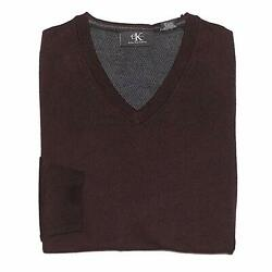 NEW MENS M DARK CHESTNUT CALVIN KLEIN MERINO WOOL ITALIAN YARN V NECK SWEATER