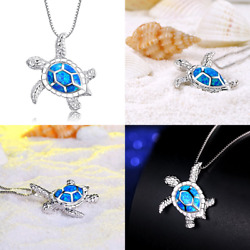 925 Sterling Silver Created Sea Turtle Pendant Necklace 18quot; $12.99