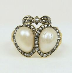 Victorian Natural Pearl and Diamond 18K Gold Double Heart and Bow Ring