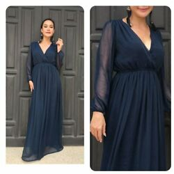 Navy blue chiffon long sleeve maxi dress all size plus size $69.00
