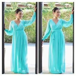 Turquoise chiffon long sleeve maxi dress all size plus size $69.00