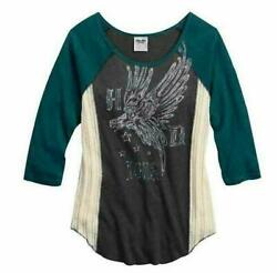 NEW Harley Womens Colorblocked 3 4 Sleeve Raglan Top Phantom S L $35.15