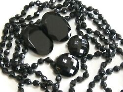 BLACK GLASS ART DECO LOT COLLECTION VINTAGE JEWELRY NECKLACE & 2 CLIP EARRINGS