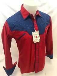 Men RODEO WESTERN COUNTRY ROYAL RED Long Sleeve Woven SNAP UP Shirt Cowboy 6675