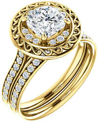1.27 ct total Cushion & Round cut Diamond Halo Engagement 14k Yellow Gold Ring