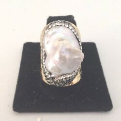 WHITE PEARL PAVE WIDE BAND CIGAR GOLD PLATED RING 28236 SIZE 8.5