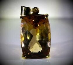 Imperial Topaz 35.12ct 18K Solid Yellow Gold PendantNatural750 Gold Hallmark