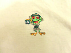 Rainforest Cafe Embroidered Logo Texture Ribbed Tan Graphic Print TShirt L