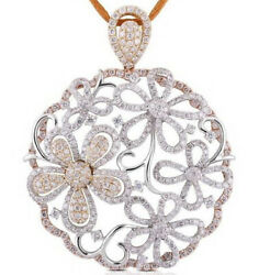 6.56CT NATURAL ROUND DIAMOND 14K SOLID WHITE GOLD PENDANT