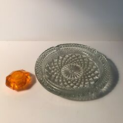 Antique Novelty Crystal smokers stand ash tray orange lucite column lamp part