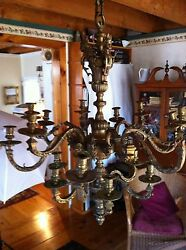 Incredible 1800s French Bronze Figural Candle Chandelier Baal~Hamon