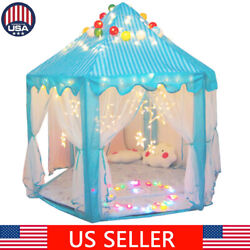Portable Pop Up Play Tent Kids Girl Princess Castle Outdoor House Pink LED Light
