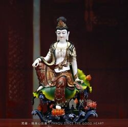 20'' Collection Art white porcelain mineral pigment comfortable Guanyin buddha