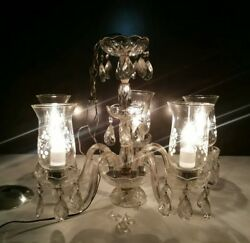 Antique Depression Glass Chandelier Shades Beaded Jewels Crystals 5 Light Arm $220.00