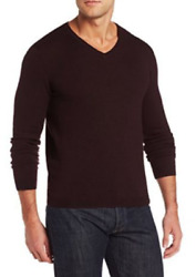 NEW MENS L DARK CHESTNUT CALVIN KLEIN MERINO WOOL ITALIAN YARN V NECK SWEATER