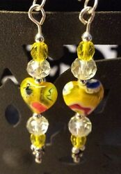 BEAUTIFUL SUMMERY YELLOW  10mm Millifiore  HEART EARRINGS WITH SILVER ACCENTS
